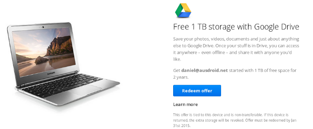 Chromebook - 1TB Google Drive Offer