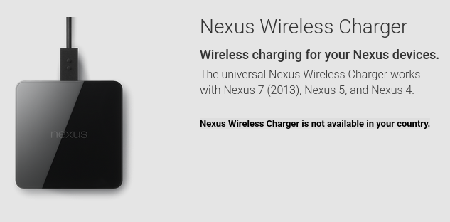 Nexus Wireless Charger Not Available