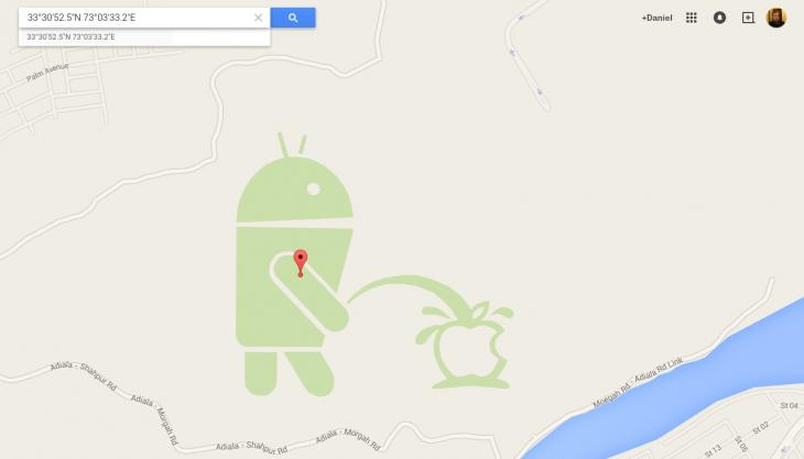 Apple V Android Easter Egg in Google Maps