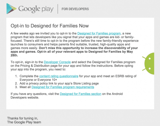 Google Play Families Now