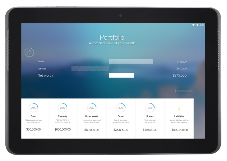CommBank app for tablet - Portfolio View