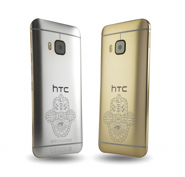 HTC ONE M9 INK GOLD HANDSET AND SILVER HANDSET HIGH RES