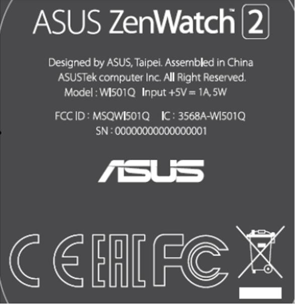 Zenwatch 2 FCC