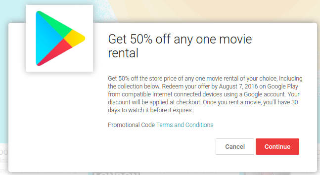 Google Play movice 50% off