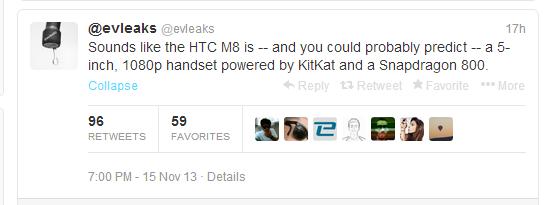HTC M8, @evleaks