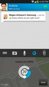 BBM Location Sharing Screenshot
