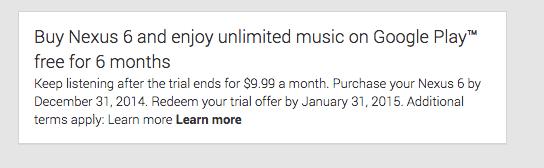 Google Play Music - Nexus 6 Offer