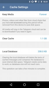 Telegram cache management