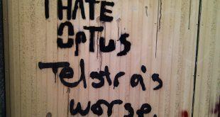 Anti Optus & Telstra graffiti in Newtown Sydney